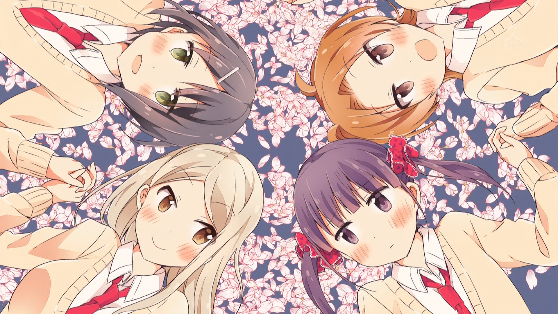 Kotone x Kaede, Shizuku x Yuzu holding hands on a blue background with sakura petals scattered on it.