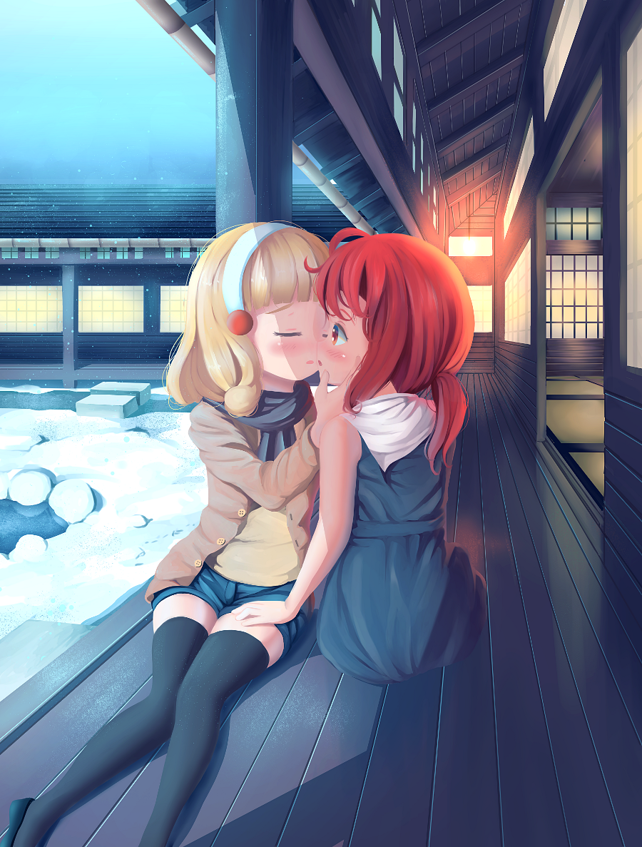 A nice romantic moment between Yayoi (Cure Peace) and Akane (Cure Sunny) as they enjoy a weekend together - alone.